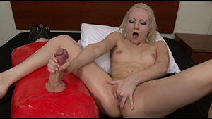 FemDom handjob video performed by Ashley jane on a restrained cum filled cock featured on HandDomination.