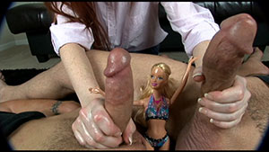 Frottage FemDom handjob video performed by Audrey Lords on 2 cum filled cocks featured on HandDomination.