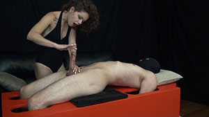 FemDom handjob video performed by Bailey Paige on a restrained cum filled cock featured on HandDomination.