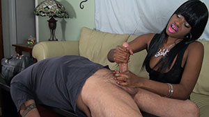 FemDom handjob video performed by beautiful ebony princess Chanel Madison on a restrained cum filled cock featured on HandDomination.