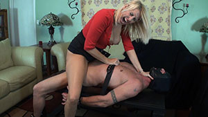 Revenge FemDom handjob video performed by busty blonde MILF Dallas Diamondz on a restrained cum filled cock featured on HandDomination.