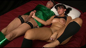 FemDom handjob video performed by Eve Rosario on a restrained cum filled cock featured on HandDomination.