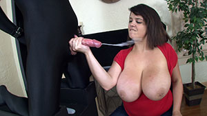 FemDom handjob video performed by Mistress Michaels on a restrained cum filled cock featured on HandDomination.